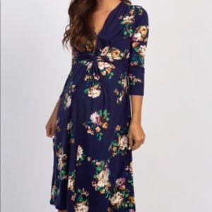 Navy Maternity Floral Dress